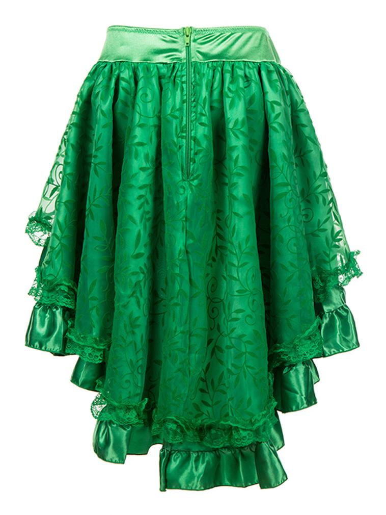Women's Steampunk Gothic Vintage Green Ruffle Floral Organza High Low Party Skirt