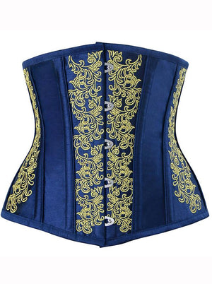 Women's Gothic Vintage 14 Steel Boned Embroidery Underbust Corset