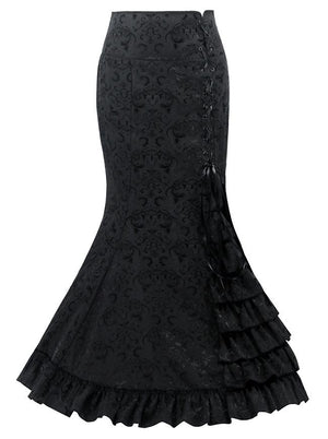 Women's Black Steampunk Gothic Jacquard High Waisted Ruffle Fishtail Pencil Skirt