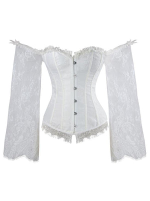 Gothic Off-Shoulder Overbust Lace Corset with Long Floral Sleeves /White