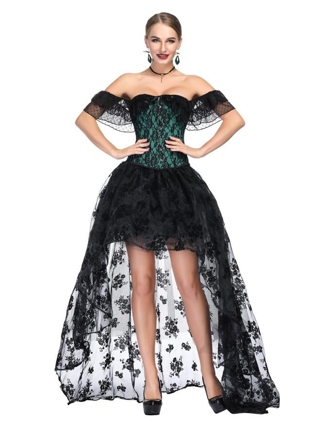 Gothic Green Satin Off Shoulder Floral Lace Overbust Corset with Organza Skirt Set