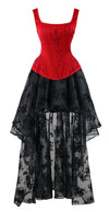 Women's 2-Pcs Victorian Embroidery Steel Bone Corset & Organza Skirt Set