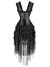 Vintage Burlesque Saloon Girl Corset Dress Halloween Dancer Showgirl Costume Black
