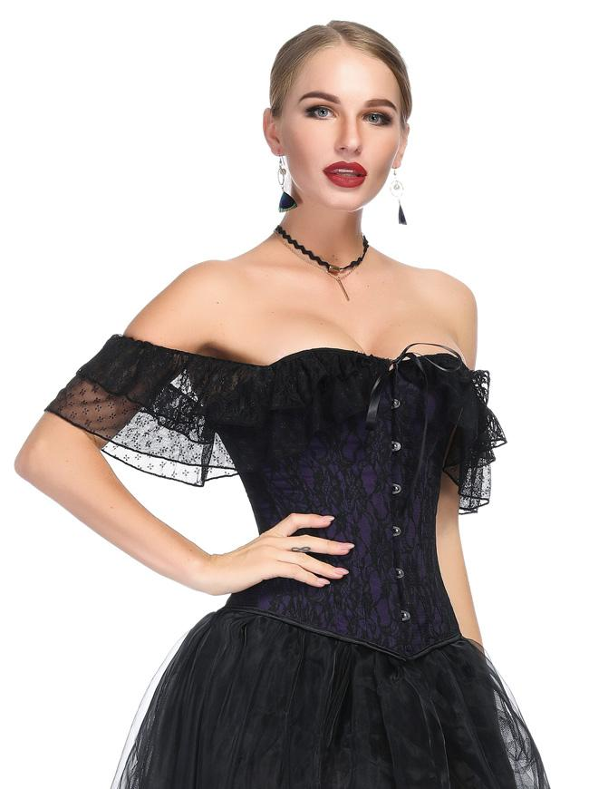 Gothic Purple Satin Off Shoulder Floral Lace Waist Cincher Overbust Corset