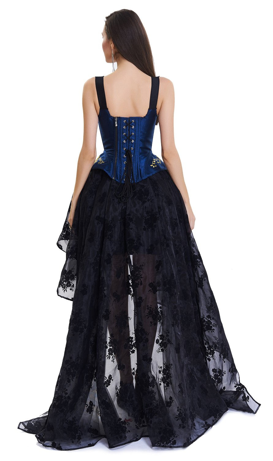 2 Pcs Gorgeous Victorian Floral Embroidery  Tank Steel Bone Corset & Organza Skirt Set