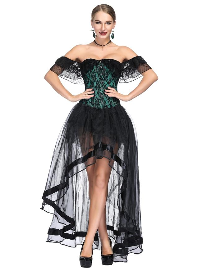 Gothic Green Off Shoulder Floral Lace Overbust Corset with Organza High Low Skirt Set