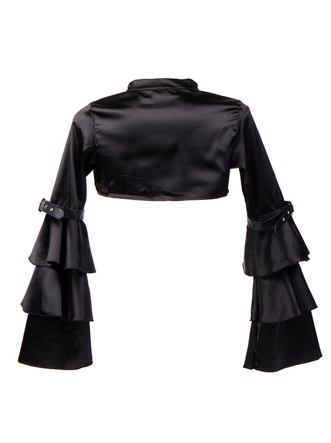 Gothic Black Velvet Stand Collar Long Layered Sleeve Shrug Bolero Jacket