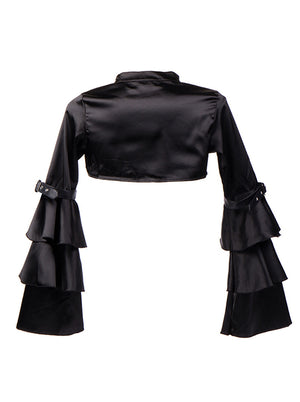 Gothic Black Satin Stand Collar Long Layered Sleeve Shrug Bolero Jacket