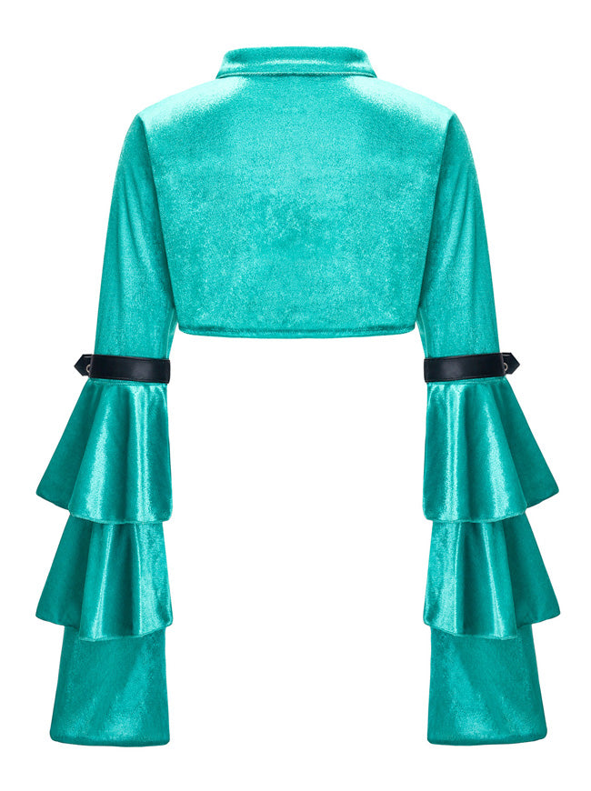 Gothic Green Velvet Cloak Stand Collar Long Layered Sleeve Shrug Bolero Jacket
