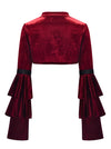 Gothic Wine-Red Velvet Cloak Stand Collar Long Layered Sleeve Shrug Bolero Jacket