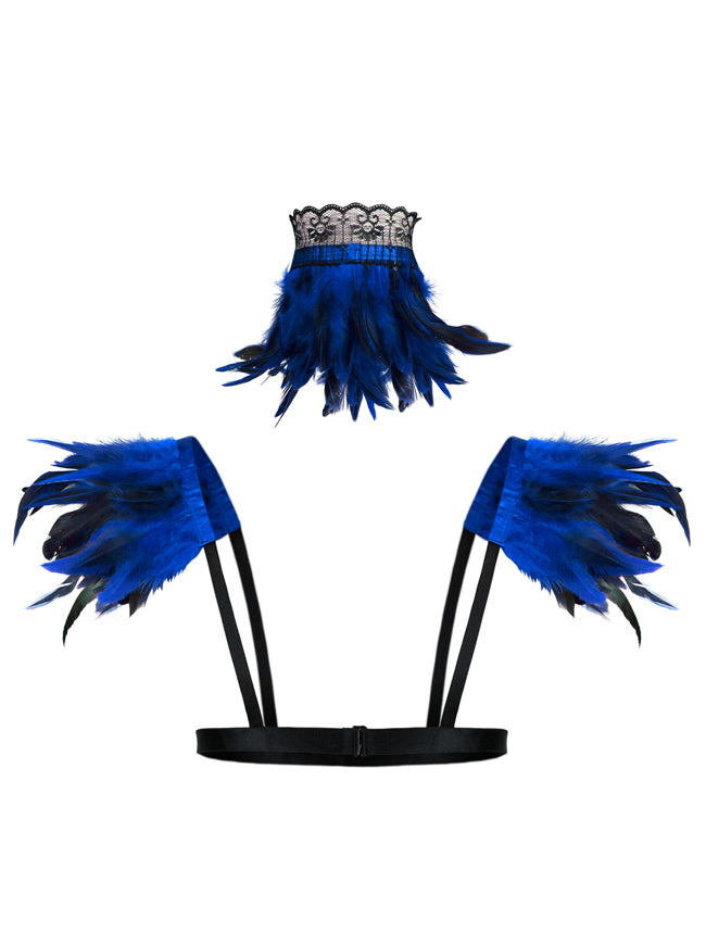 Steampunk Gothic Accessory Blue Feather Collar Choker and Shoulder Pads Wrap Set