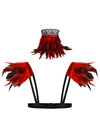 Steampunk Gothic Accessory Red Feather Collar Choker and Shoulder Pads Wrap Set