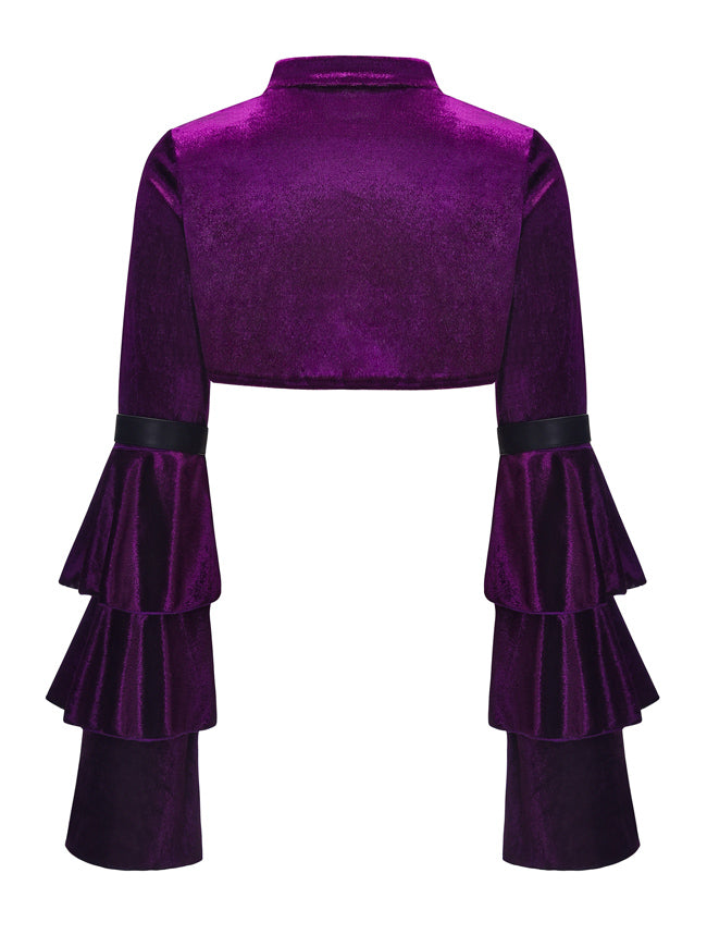 Gothic Purple Velvet Cloak Stand Collar Long Layered Sleeve Shrug Bolero Jacket