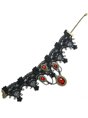 Handmade Vintage Gothic Victorian Lace Gorgeous Red Gem Chocker Necklace