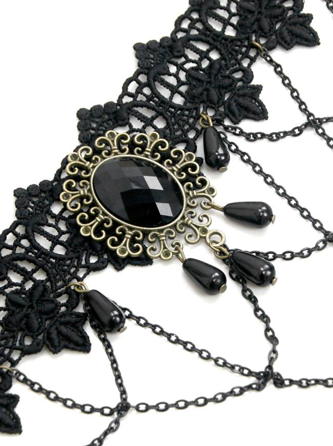 Handmade Vintage Gothic Victorian Lace Jewelry Chocker Necklace with Chains