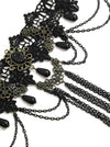 Handmade Vintage Gothic Victorian Lace Tassels Black Chocker Necklace