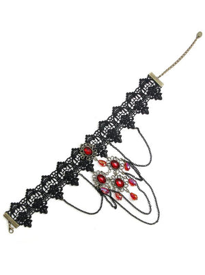 Handmade Gothic Retro Victorian Black Lace Red Gem Choker Gorgeous Necklace