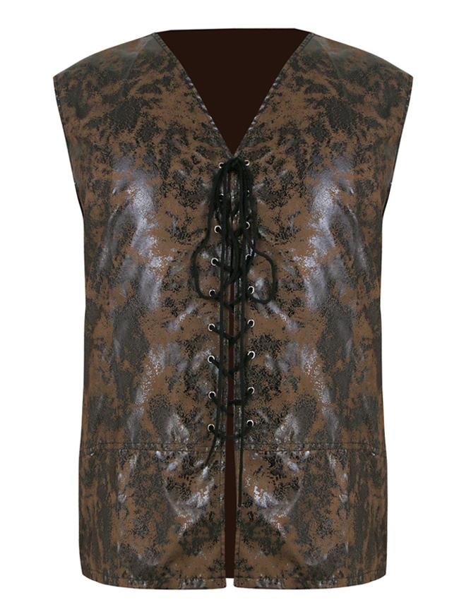 Mens Steampunk Distressed Brown Faux Leather Waistcoat Vest