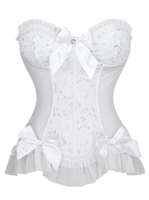 Burlesque Strapless Plastic Bone White Bride Bow-knot and Ruffle Overbust Corset