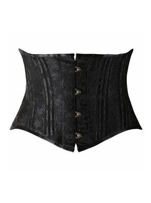 Women's 22 Steel Boned Underbust Waist Training Short Torso Plus Size Black Corset