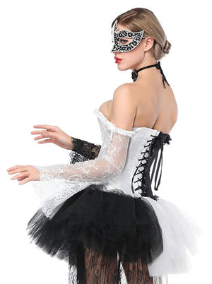 Off-Shoulder Burlesque Over-bust Corset with Long Floral Lace Sleeve Black/White