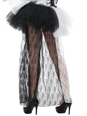 Women's Sexy Black and White High Waist High-low Lace Tulle Skirt