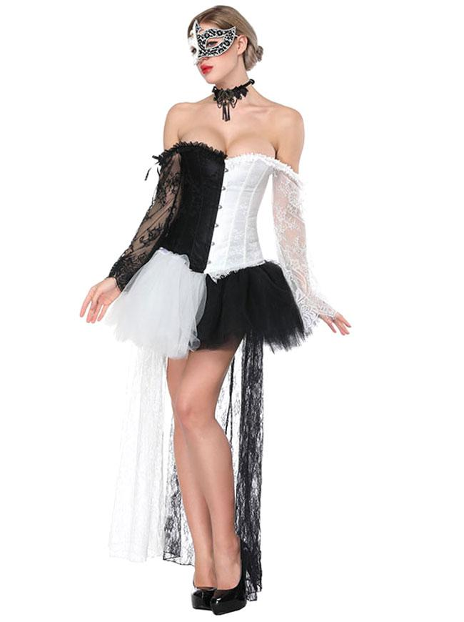 Fashion Black/White Lace Overbust Off-Shoulder Corset High-low Skirt Set