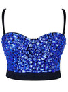 Sweets Blue Studded Rhinestone Push Up B Cup Bustier Bra Party Bustier Crop Top