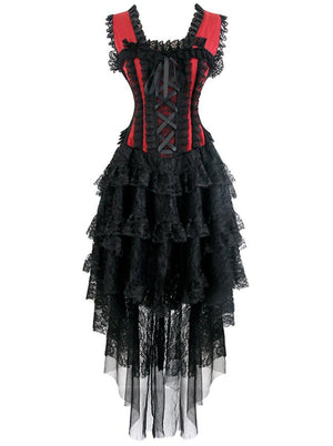 Vintage Burlesque Saloon Girl Corset Dress Dancer Showgirl Costume Black Red