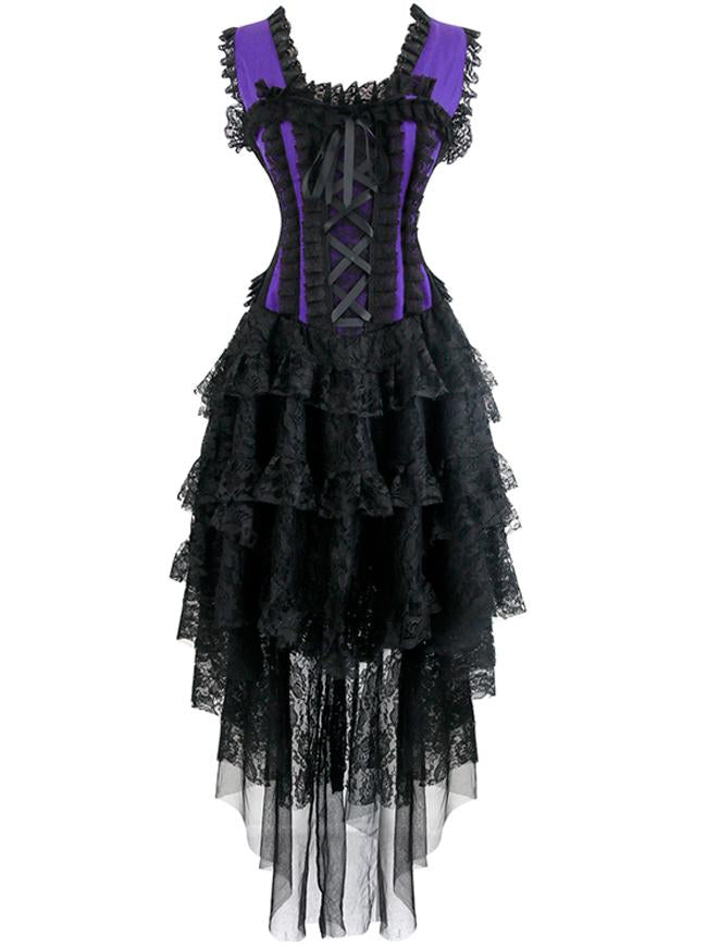 Vintage Burlesque Saloon Girl Corset Dress Halloween Dancer Showgirl Costume Purple