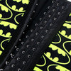 4 Steels Crazy Bat Ghosts Print Waist Training Cincher Halloween Black Yellow Corset