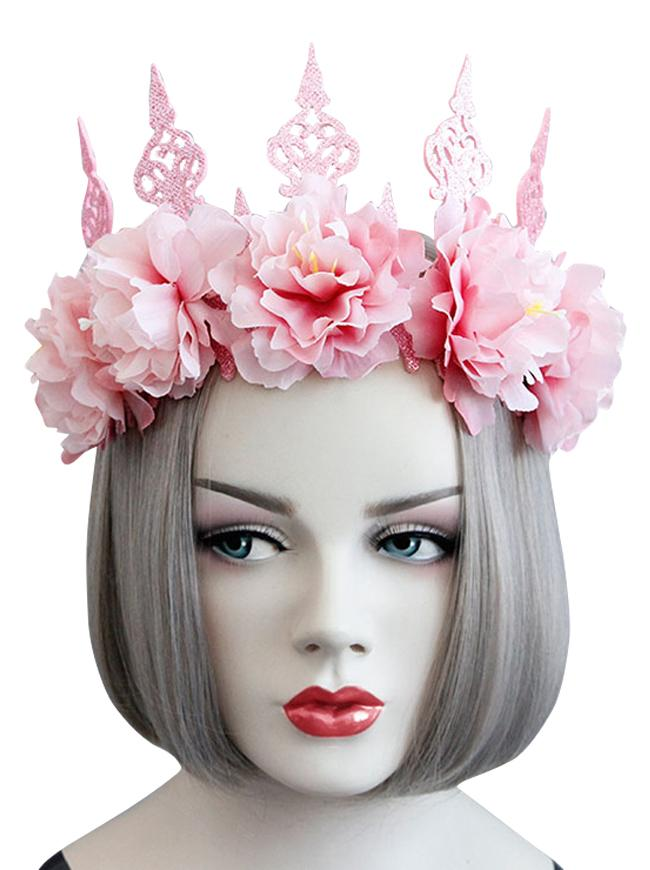 Gothic Victorian Elegant Artificial Flower Crown Headband Wedding Head-wear Jewelry Accessory Pink