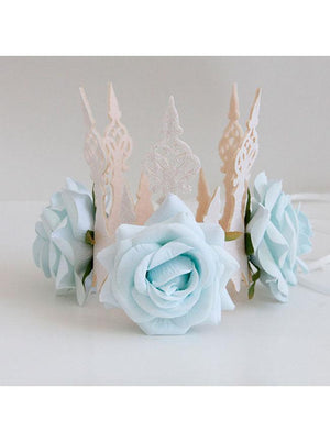 Gothic Victorian Elegant Artificial Flower Crown Headband Wedding Head-wear Jewelry Light Blue