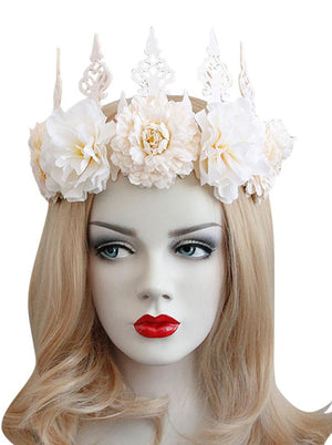 Gothic Victorian Elegant Artificial Flower Crown Headband Head-wear Jewelry Accessory Apricot