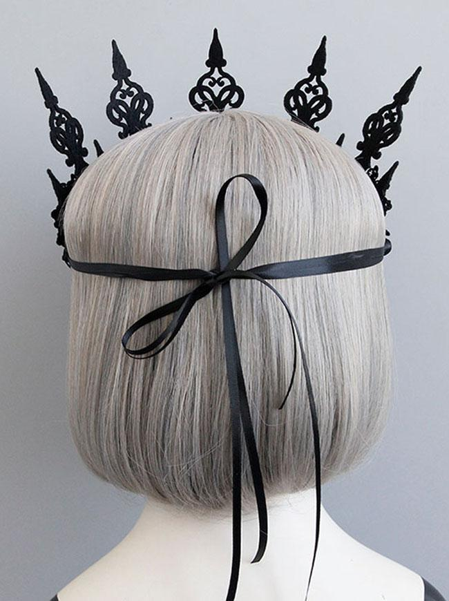 Gothic Victorian Elegant Artificial Flower Crown Headband Wedding Head-wear Jewelry Accessory Black