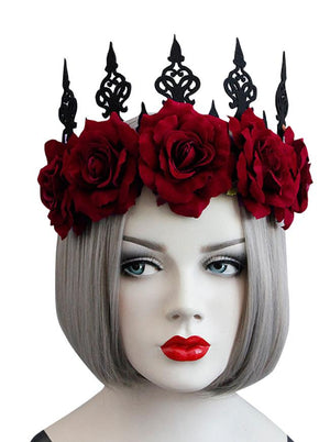 Gothic Victorian Elegant Artificial Flower Crown Headband Wedding Jewelry Accessory Black Red