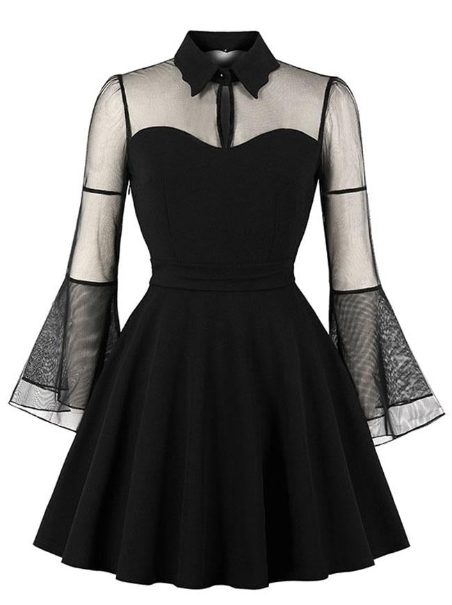 Gothic Black See-through Flare Sleeves Halloween Vampire Dress For Women