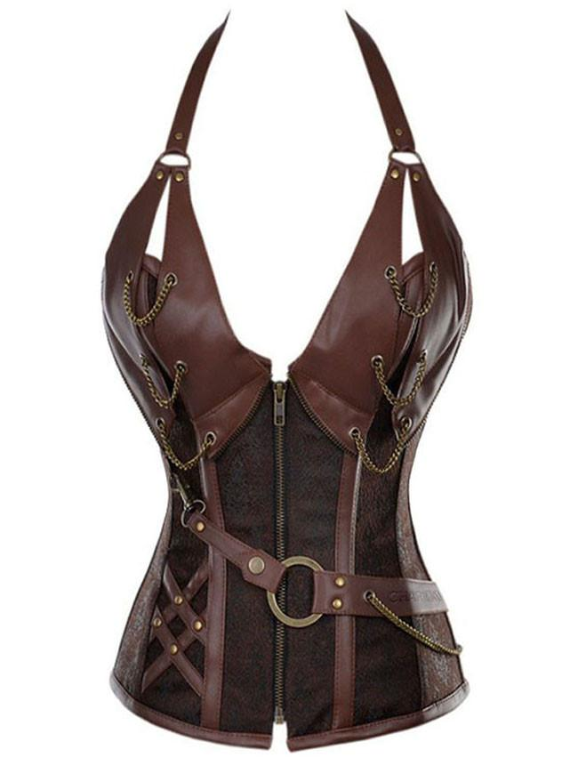 Women's Punk Faux Leather Zipper Halter Bustier Corset Top With Waist Belt