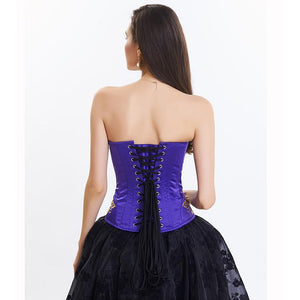 Victorian Purple Vintage Floral Embroidery Steel Boned Corset High-low Organza Skirt Set
