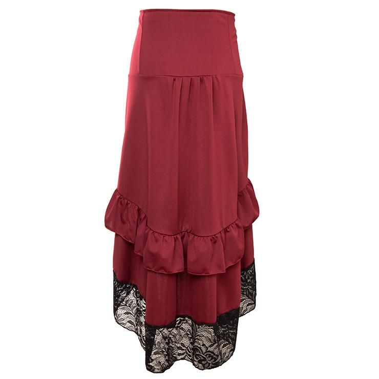 Gothic Victorian Punk Vintage Red High Waist Lace Trim Good Elasticity Ruffled High-low Skirt