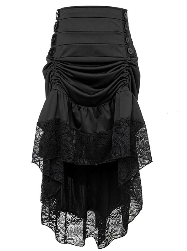 Gothic Victorian Punk Vintage Black High Waist Lace Trim Good Elasticity Ruffled High-low Skirt