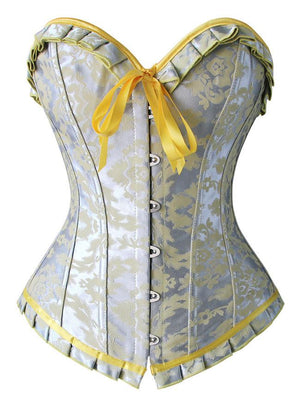 Women's Fashion Sexy Brocade Bust Ruffles Busk Closure Overbust Corset