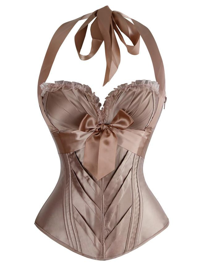 Burlesque Vintage Satin Halter Champagne Bustier Corset Top with Lace