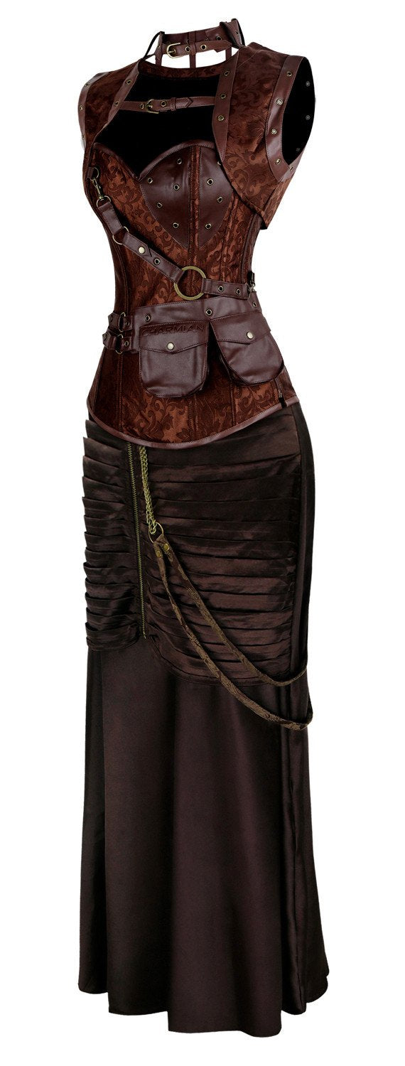 Women's Vintage Steampunk Steel Boned Bustier Corset and Skirt