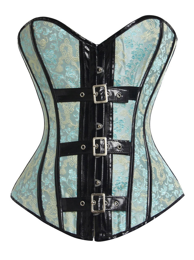 Women's Burlesque Sexy PU Leather Brocade Bustier Corset Top with Buckles