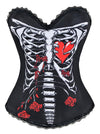 Punk Skeleton Ribcage Shredded Print Rock N Roll Boned Bustier Top Halloween Corset