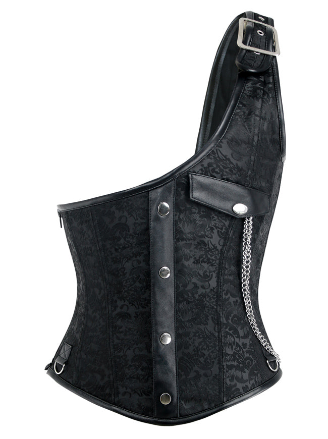 Men's One-Shoulder Black Leather Gothic Punk Waistcoat Corset Vest Top