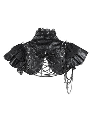 Gothic PU Leather Steampunk Rivet and Cross Embellished Black Shrug