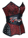 Gothic Cosplay Evil Bat Rivet Strapless Steel Bone Brocade Overbust Corset