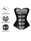 Women' 12 Spiral Steel Bones Steampunk Faux Leather Zipper Plus Size Corset